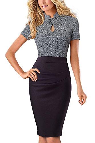 HOMEYEE Damen Vintage Stehkragen Kurzarm Bodycon Business Bleistift Kleid B430 (EU 36 = Size S, Grau)