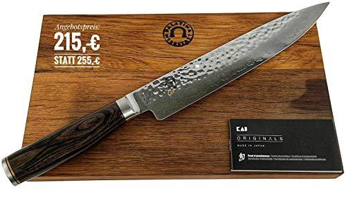 Palatina Werkstatt Kai Shun Premier Tim Mälzer | TDM-1704 ultrascharfes Japanisches Messer, Schinkenmesser aus Damaststahl | + massives Schneidebrett aus Fassholz 30x 18 cm | VK: 255,- €