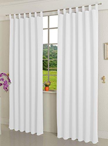 Gardinenbox Verdunkelungsvorhag mit Schlaufen matt Uni Farbe aus weichfallenden blickdichten Stoff, Weiß, 245x135 (HxB) Blickdicht Blackout, 20610