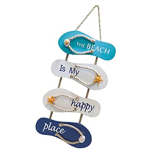 Nicejoy Decoracion Nautica, Playa náutica Flip Flop Wall Adorno, Accesorios de Playa, Playa Placa de Madera Ocean Decoración para el hogar para la Pared y la Puerta