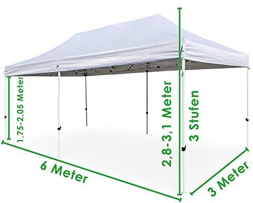 Ondis24 Faltpavillon Faltzelt 3x6m + Tasche mit Rollen + Heringe Komplettset Pavillon Partyzelt weiß Dach ABSOLUT WASSERDICHT
