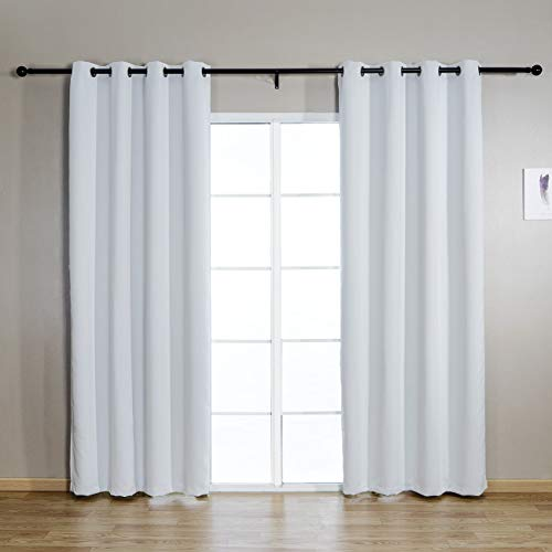 JUNFR Blackout Curtain Panels Window Draperies - Navy Blue, 52 x 63 inch, 2 Pieces, Insulating Room Darkening Blackout Drapes for Bedroom (Grayish White, 52Wx95L)
