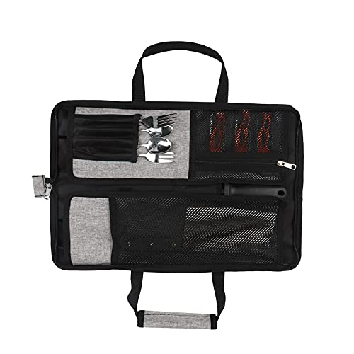 Chef Knife Roll Bag,Heavy Duty Oxford Durable Knife Carrier,Knife Pouch Holders With 12 Slots Plus 1 Zipper Pockets,Multi-function Knife Roll for Home Kitchen,Traveling,Camping (Grey)