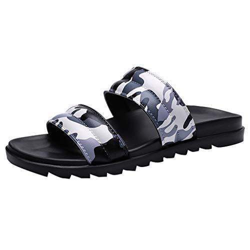 SANFASHION Männer Sommer Strand Flip Flops Camouflage Schuhe Male Slipper Flache Sandalen