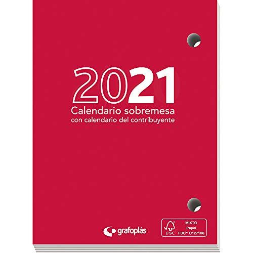 Grafoplás 9117800. Taco Calendario de Sobremesa 2021, 8'3x11cm, Papel 70 Gramos, Certificado FSC, Vista Día Página, Con Calendario Contribuyente