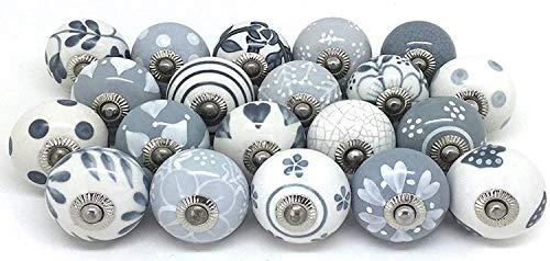 Decorative Floral Drawer Knobs - Pack of 25 Pcs - Brass Steel Cabinet Door Handle Blue Pottery Flower Handmade Home Decor Hardware - Grey
