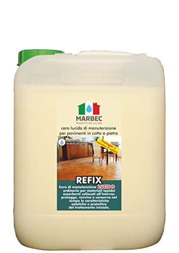 Marbec - REFIX Lucido 5LT   Cera Lucida di Manutenzione per Pavimenti in Cotto e Pietra