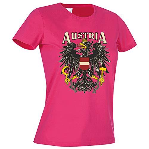 Mega Cooles Damen T-Shirt - Österreich Austria trendiges T-Shirt oder Leiberl - Aufdruck: Austria mit Staatswappen/Adler (Pink, Smal)