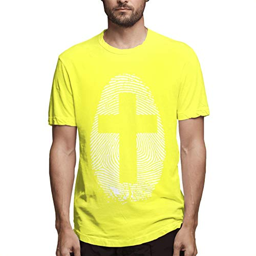 Cross Thumbp-rint Men's Short Sleeve T-Shirt Yellow