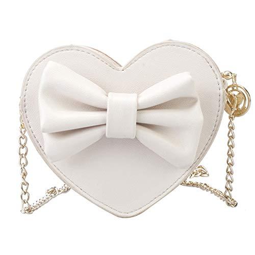 BIGBOBA.Girls Borsa a Tracolla Messenger Bag, Sveglia per Bambini, Principessa, Catena, Tracolla, Borsa a Tracolla, Ragazza Love Bow Bag, Bianco, 13 * 14 * 4.5㎝