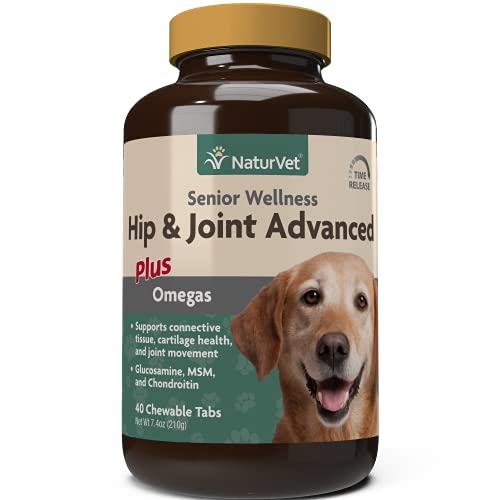 NaturVet Senior Wellness Hip and Joint Plus Omegas Advanced Supplement for Dogs  Chewable Tablets Time Release  Made in the USA  40 Count
