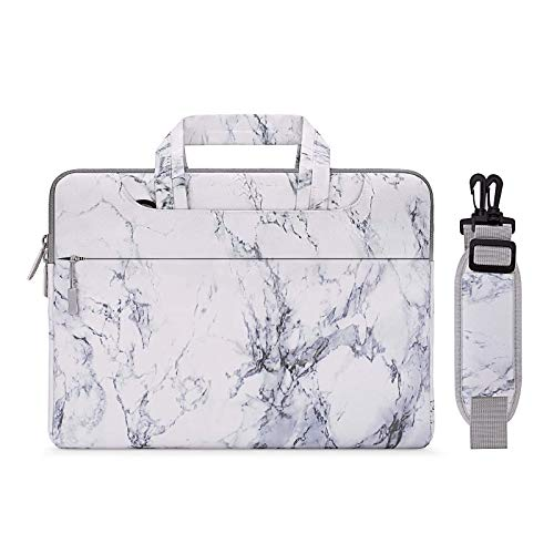 MOSISO Laptop Shoulder Briefcase Bag Compatible with 13-13.3 Inch MacBook Pro, MacBook Air, Notebook Computer, Protective Canvas Marble Pattern Carrying Handbag Sleeve Case Cover, White