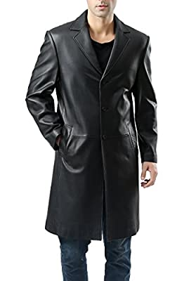 BGSD Men's Classic New Zealand Lambskin Leather Long Walking Coat Black X-Large Tall by