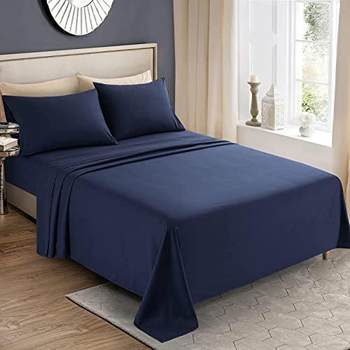 KKJIAF 4 Piece Bed Sheet Set, Microfiber Bed Sheet Full Size, 1800 Thread Count Microfiber Soft & Breathable Bedding Sheet Sets, Deep Pocket Fitted Sheet, Flat Sheet and 2 Pillowcases - Navy Blue