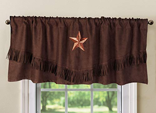 """Luxury Texas Western Embroidery Star Suede Valance Curtain Panel - 60""""x18"""" (Brown)"""