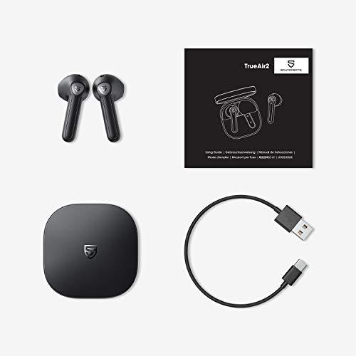 SoundPEATS TrueAir2 Auriculares Inalámbricos Bluetooth 5.2 Qualcomm3040 aptX TrueWireless Mirroring, 4-Micrófonos Cancelación de Ruido CVC8.0 Llamadas Claras, Diseño Semi-in-Ear, 25 Horas