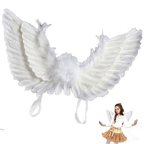 seebesteu Ali Angelo Piumate Bianche Costume Halloween Ali Piume Bianche per Feste Carnevale (Bambini)