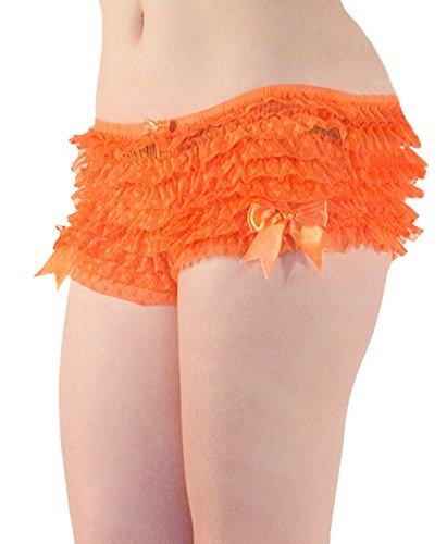 Mutandine donna modello Burlesque vintage con volant e fiochi decorativi (dalla S alla XL) arancione Orange
