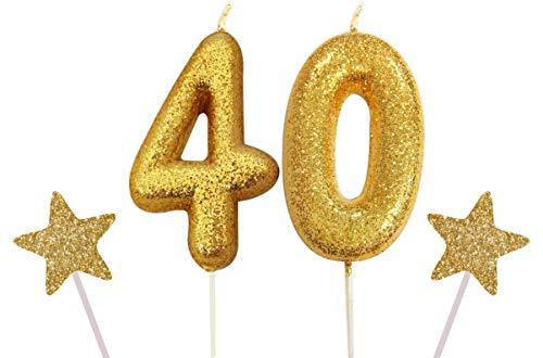 Gadget - Vela con Purpurina para Tarta de cumpleaños, diseño de número Azul Gigante, Dorado, Number 40