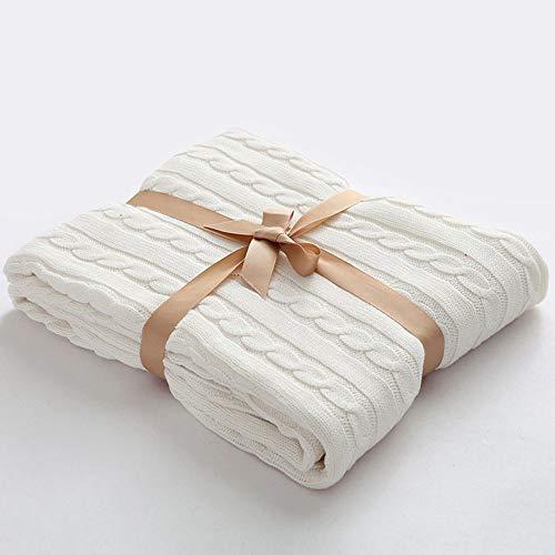 AGOOL 毛布綿毛布ソファーカバーマルチカバーベッドカバーおしゃれブランケット北欧風綿100%純粋綿オールシーズンエアコン対策大判厚手洗える130x180cm(白、130x180cm)