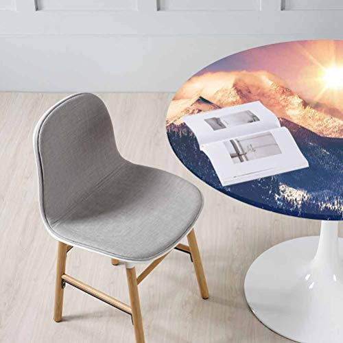 Philip C. Williams USA Nature Decor Round Fitted Tablecloth Mountains in Coloradao Bright Sun Snowy Hill Great for Buffet Table, Holiday Dinner & More fits Diameter Appro 55 inch Round Tables