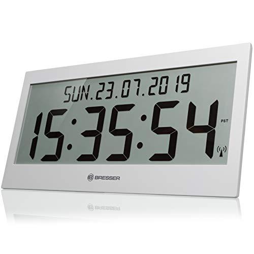 Bresser Wanduhr LCD Jumbo DCF Funkuhr mit extra großen Ziffern, silber