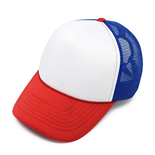 Three Tone Summer Mesh Cap in Royal and Red and White Trucker Hat