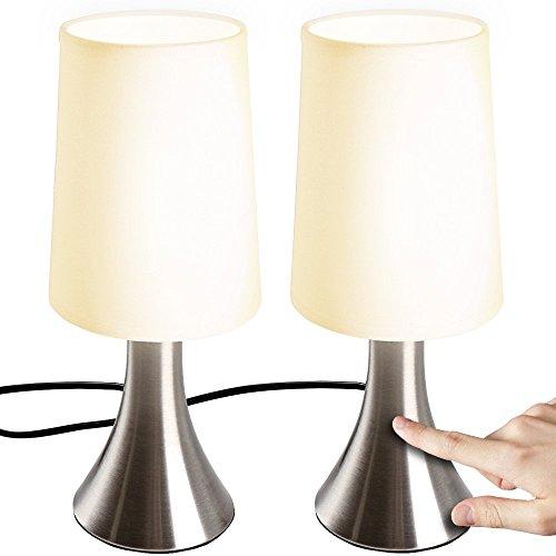 Jago Lampada da Comodino - Set da 2, a Touch, 3 Livelli di Luce Notturna, E14, Max 60 W o LED Dimmerabile, CEE: A++ a E - Lampada da Tavolo, a Cilindro, a Controllo Tattile, Camera da Letto