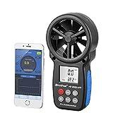 Anemómetro digital de mano, medidor de velocidad del viento portátil indicador de temperatura del aire, con APP móvil y luz de fondo para deportes al aire libre tiempo colección de datos windsurf vela