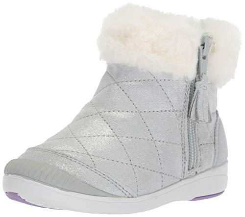 Stride Rite Girl s Chloe Sparkle Suede Bootie Fashion Boot, silver, 11 W US Little Kid