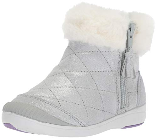 Stride Rite Baby-Girl's Chloe Sparkle Suede Bootie Fashion Boot, Silver, 5 M US Toddler