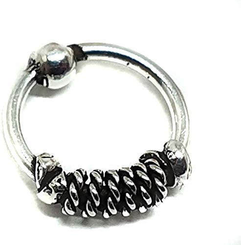 eclectische winkel uk Sterling 925 Zilver Neus Ring Neus Ring Daith Bali Twist Tiny 7mm 20g (0.8mm) Oxide 925 Zilver Sleeper Hoop t1