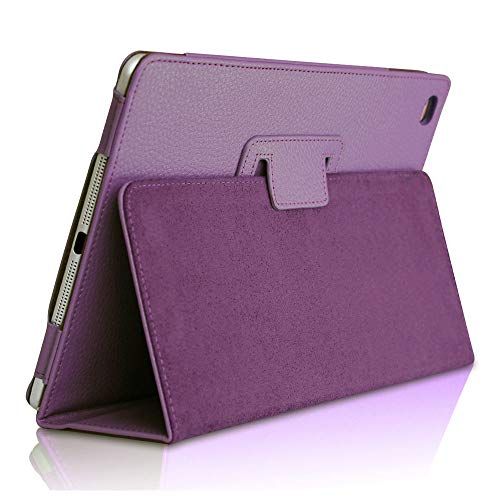 iPad Mini 5 2019 Case, FANSONG Bi-fold Series Litchi Stria Ultra Thin Magnetic PU Leather Smart Protective Cover Case [Flip Stand,Sleep Function] for Apple iPad Mini 5 7.9-inch, Purple