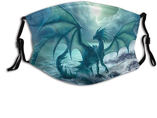 Dark Dragon Skull Dragon-Face Mask Balaclava, Washable&Reusable with 2 Filters, for Adult Women Men&Teens-Dark Dragon on The Beach 4-1 PCS