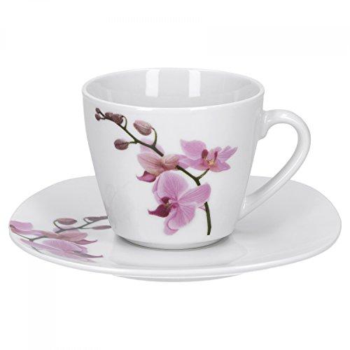 Van Well 2-TLG. Kaffeetassen-Set Kyoto, Kleine Tasse 180 ml + Untertasse, edles Porzellan, Kaffee-Geschirr, Blumen-Dekor Orchidee, rosa-rot, pink
