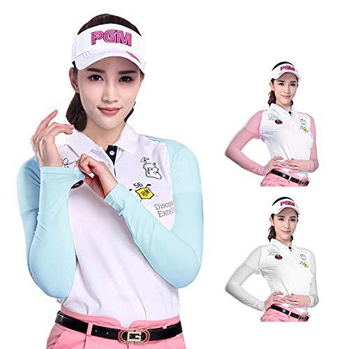 Golf Arm Set, Sonnenschutzhemd Ice Cool Material Material Leder Spitzhemd Arm Set Weiß Blau Rosa Sommerhalbhemd,Rosa,L