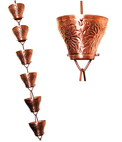 u-nitt 8–1/2Füße reines Kupfer regen Kette: geprägtes Tasse 8,5ft Länge # 5501