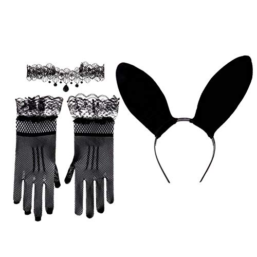 iEFiEL Women Bunny Costume with Long Ears Rabbit Hair Hoop Lace Ruffle Wrist Gloves Pendants Choker Collar Cosplay Outfit for Party Black One Size