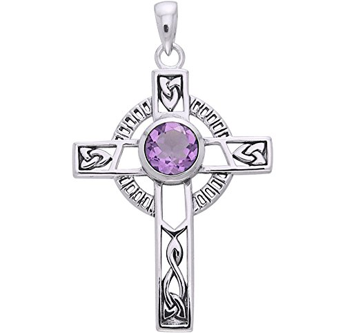 Jewelry Trends Sterling Silver Celtic Knotwork Cross Pendant with Amethyst
