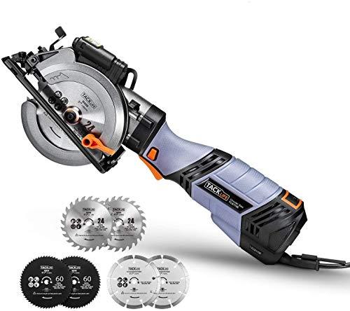 TACKLIFE Sierra Circular 750W, 6 Velocidades hasta 3500 RPM,Mini Sierra Circular, 6 Hojas y guía láser, Cortar Madera, Metal Blando y Azulejos - sierra circular de mano-TCS115E