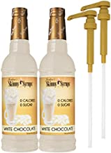 Jordan's Skinny Syrups Sugar Free White Chocolate 750 ml Bottles (Pack of 2) with 2 By The Cup Syrup Pumps