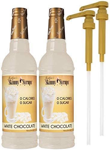 Jordan's Skinny Syrups Sugar Free White Chocolate 750 ml Bottles (Pack of 2) with 2 By The Cup Syrup...