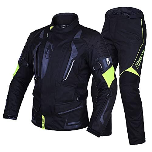 LITI Traje De 2 Piezas Chaqueta De Moto Y Pantalones con Protecciones CE para Hombre, Deportista