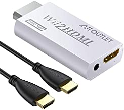 AUTOUTLET Wii to Hdmi Converter Output Video Audio Adapter, with 1M HDMI Cable Wii2HDMI 3.5mm Audio Video Output Supports 720/1080P All Wii Display Modes for Nintendo
