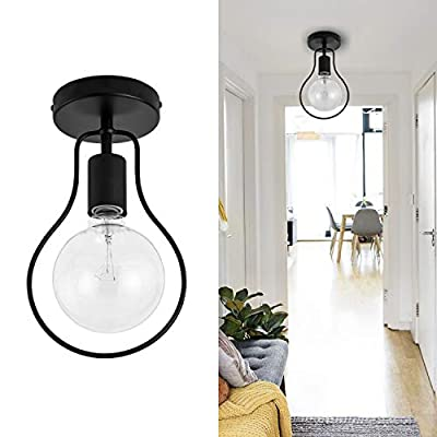 Metal Ceiling Lights Fixture Industrial Black Ceiling Lamp with Unique Design Shape Semi-Flush Mount for Hallway, Entryway, Bedroom, Passway, Dining Room, Cafe, Bar, Corridor, Farmhouse, Bar