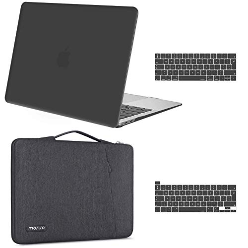 MOSISO Compatible with MacBook Pro 13 inch Case 2016-2020 Release A2338 M1 A2289 A2251 A2159 A1989 A1706 A1708, Plastic Hard Shell Case & 360 Protective Sleeve Bag & Keyboard Cover, Space Gray