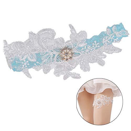 ZOYLINK Hochzeit Strumpfband, 2ST Braut Strumpfband Elastisch Sexy Bogen Strumpfband Bein Ring Spitze Strumpfband FüR Hochzeit (blau)