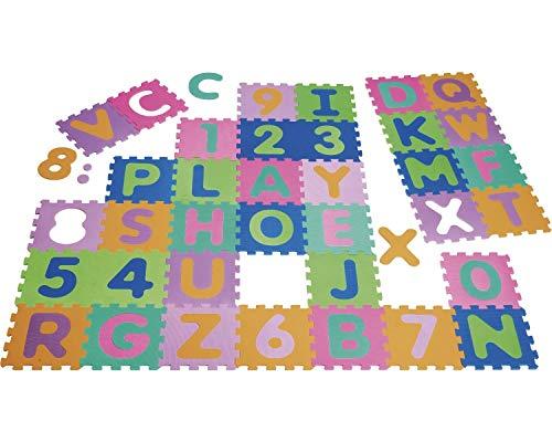 Playshoes 308738 – Puzzlematte für Babys und Kinder, Buchstaben und Zahlen, Spielmatte Spielteppich Schaumstoffmatte, 36-teilig, mehrfarbig