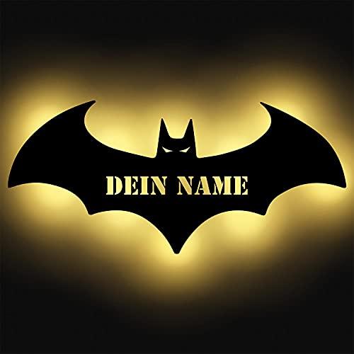 LED Deko Schlummerlicht Nacht-Licht Fledermaus personalisiert mit Wunsch Namen Lasergravur Wand-Lampe Kinderzimmer Wohnzimmer Geschenk