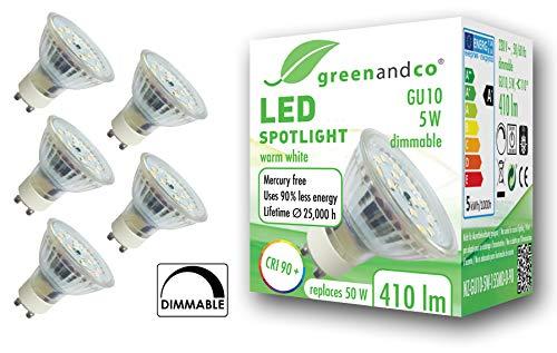 5x greenandco® CRI 90+ LED Spot dimmbar ersetzt 50W GU10 5W 410lm 3000K warmweiß 110° 230V, flimmerfrei, 2 Jahre Garantie